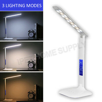 Touch Control Table LED Desk Reading Lamp Adjustable Alarm Clock 4W 3 Colours
