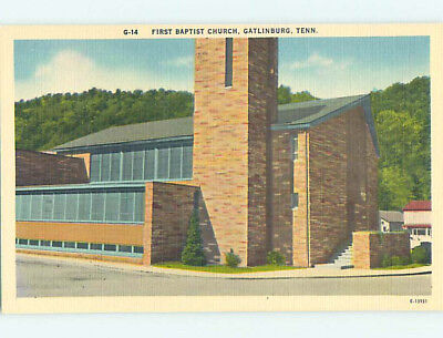 Unused Linen CHURCH SCENE Gatlinburg Tennessee TN L4674-12