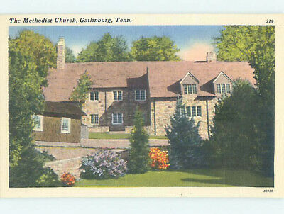 Unused Linen CHURCH SCENE Gatlinburg Tennessee TN L4639