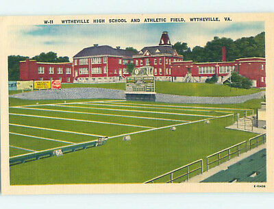 Unused Linen HIGH SCHOOL Whytheville Virginia VA L9879