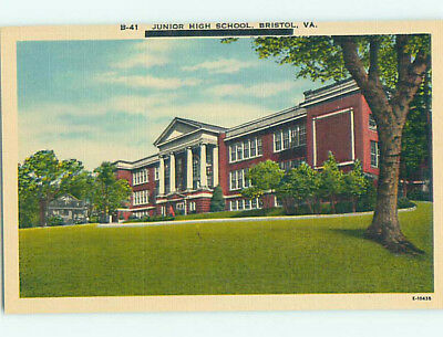 Unused Linen HIGH SCHOOL Bristol Virginia VA L9916