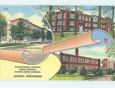 Unused Linen HIGH SCHOOL Antigo Wisconsin WI L9862