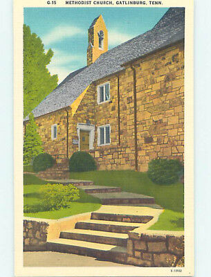 Unused Linen CHURCH SCENE Gatlinburg Tennessee TN L4422