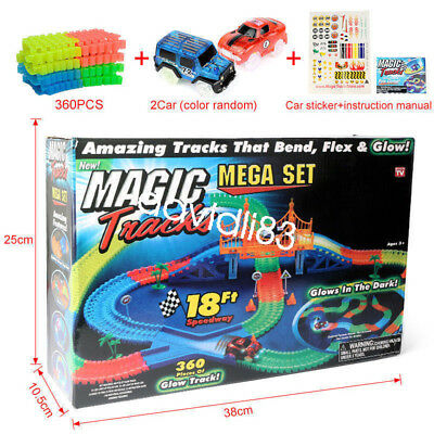 Magic Tracks DIY 360pcs Racing Set With Car Glow in the Dark All Size Available