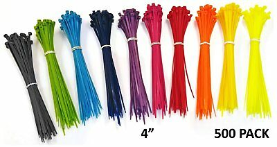 "500 Strong Cable Ties 4"" Multi Color Cable Zip Tie Down Strap Wire Nylon Wrap"