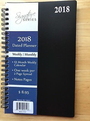 2018 Signature Dated Day Planner 5 X 8 Weekly Monthly Calendar Notes Pages BLACK
