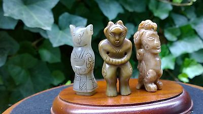 Group of Three Archaic Style Nephrite Jade Humanoid Netsuke Amulets.
