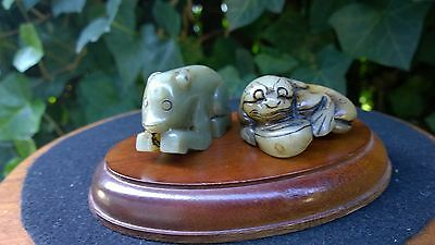 Group of Two Jade Nephrite Amulets Netsuke Pixiu w/Money--Monkey.