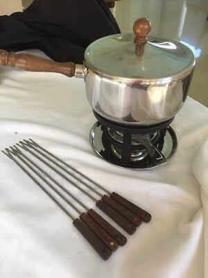 Fondue Set - Stainless - Forks And Burner On Tray In Ex Cond. Wooden Handle