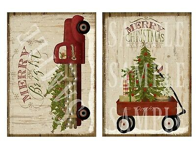 2 Primitive Christmas Red Truck Little Wagon Tree Prints Laser Print 5x7