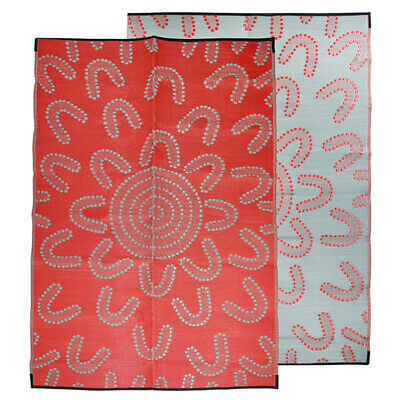 RECYCLED Plastic Mat Outdoor Rug | Authentic ABORIGINAL Design, Red Grey