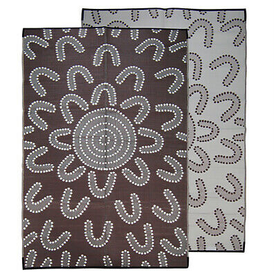 RECYCLED Plastic Mat Outdoor Rug | Authentic ABORIGINAL Design, Brown White