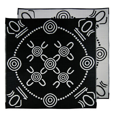 Plastic Outdoor Rug | ABORIGINAL Mat Gatherings Design | 1.8m x 1.8m Square Blac