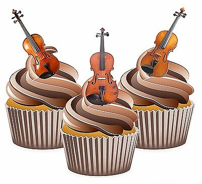 Cupcake toppers - 12 x VIOLIN Edible Cupcake Toppers Party Supplies Musical