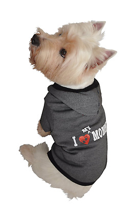 Ruff Ruff and Meow Small Dog Hoodie, I Love My Mommy, Black