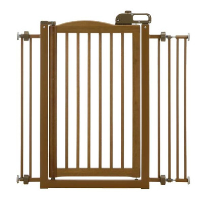 Richell 94118 Wood One-Touch Pet Gate, Autumn Matte Finish