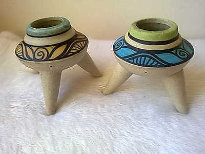 Pair Vintage Atomic Thailand candle holders