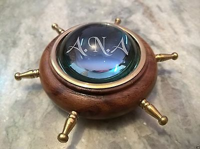 Wooden Brass Wheel Lens Compass Table Top Decorative