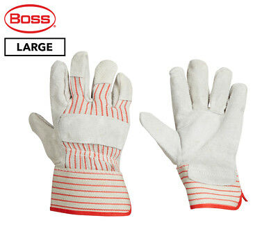 Boss Large Split Cowhide Leather Palm Work Gloves - Grey/Red