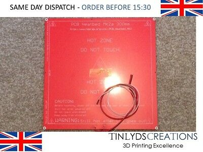 300x300mm MK2a 3D Printer PCB Heated Bed Plate + Cables / Thermistor
