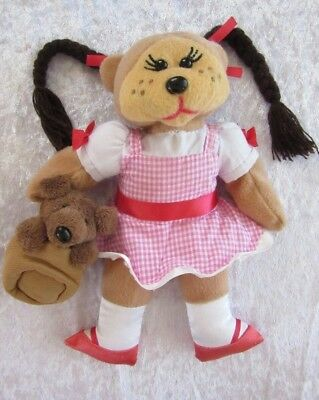 BEANIE KIDS Plush ~ DOROTHY Bear - From Wizard of Oz Carrying toto in a bag VGUC