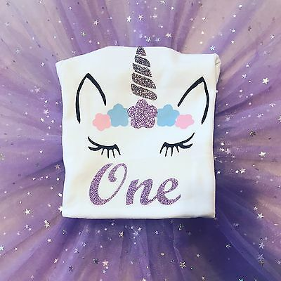 Baby Girls Personalised Birthday Unicorn Glitter Top Outfit 1 2 3 4 Pink Purple.