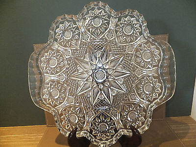Large Glass/Crystal Heavily Decorated Serving Tray Platter