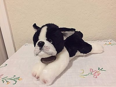 Russ  Berrie Yomiko Classics Realistic Boston Terrier Plush Puppy Tag Intact