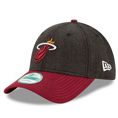Miami Heat New Era 9Forty The League Adjustable Cap,Heathered Black/Red