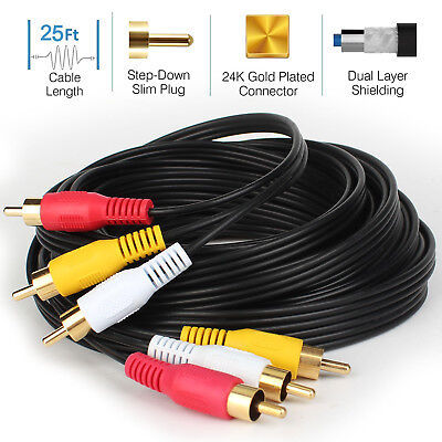 Long 7M 15M Cable Cord Wire Composite For HDTV DVD 3 RCA To 3 RCA Video AV-AU