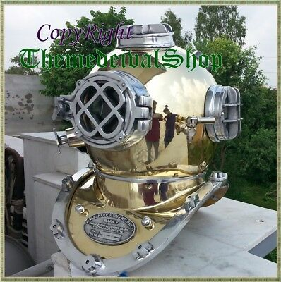 Vintage Style Brass Divers Diving Helmet Full Size Antique Sca Collectible Gift