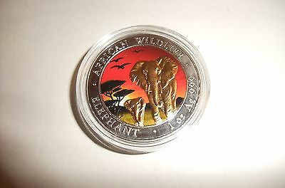 2015 somalia african elephant sunset edition color and 24k gold1oz silver