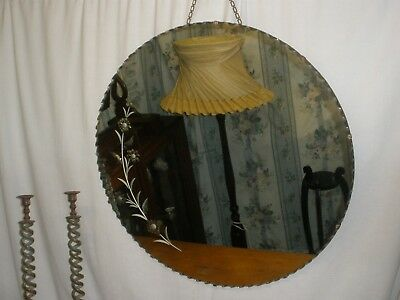 VINTAGE Large ART DECO Round WALL MIRROR Crimpt edge ETCHED Very Good Condition