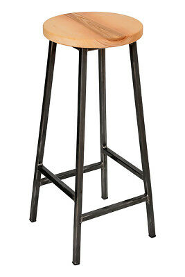 'Bertie Ashdown' Steel Frame Industrial Bar Stool with Round Ash Seat