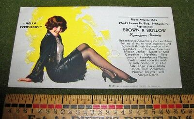 """Brown & Bigelow Ink Blotter Pin Up Girl Adv """"HELLO EVERYBODY"""" Ad Card"""