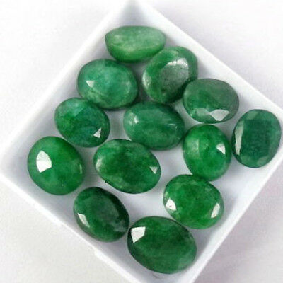 100 Ct./13 Pcs Natural Oval Cut Colombian Loose Green Emerald Gemstones Lot