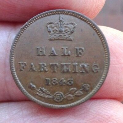 1843 Queen Victoria Young Head Bronze Half Farthing Very Nice High Grade