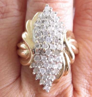 Enormous Genuine 1.00ct Diamond Cocktail Ring 10K Solid Yellow Gold