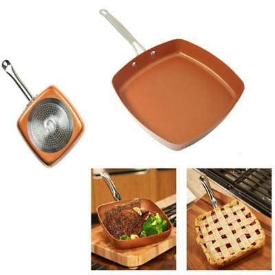 Copper Square Pan Chef Frying Fry Lid Non Cookware Sticks Steel Piece Deep Gifts