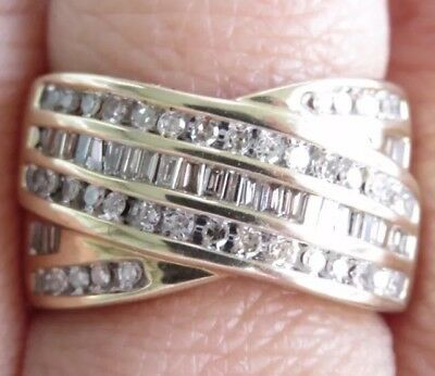Beautiful Genuine 1.00ct Diamond Cocktail Ring 9K Solid Yellow Gold