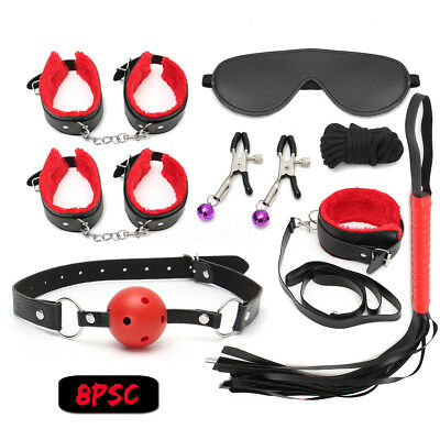 8Pcs Sexy Restraints Cosplay Whip Collars Gag Handcuffs Cuffs Fetish Toy Kit