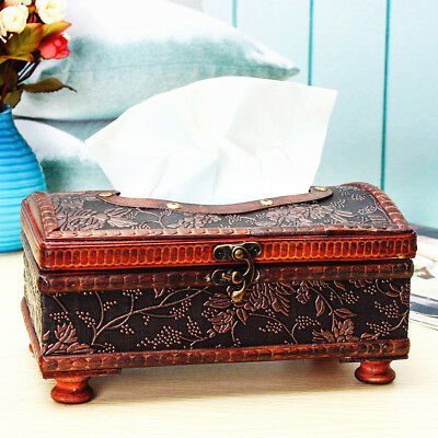AU Antique Elegant Rectangular Retro Wooden Brown Paper Napkin Tissue Box Holder