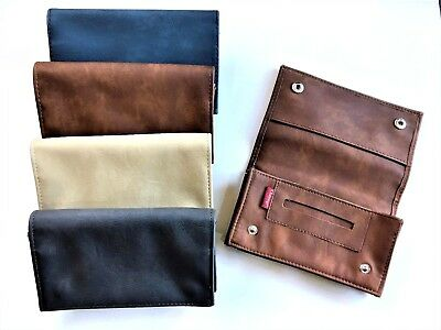 LARGE Tobacco Pouch Soft PU Leather Booklet Holder Zipper DEEP TOBACCO SECTION