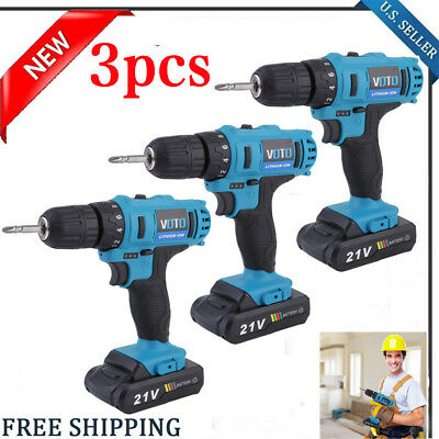 "3X 18V Lithium-Ion Cordless 1/4"" Hammer Driver-Drill 1/4"" Hex Hand Power Tool"