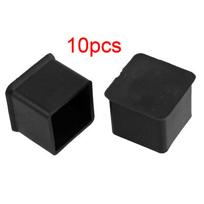"""Newest 10 Pcs Black 1"""" x 1"""" Furniture Square Rubber Foot Covers Protectors SS"""