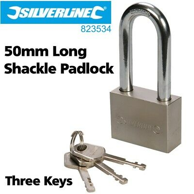 Silverline 50mm Steel Long Shackle Padlock for Home / Business Security - NEW