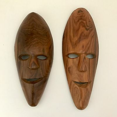 Lot of 2 Wooden Masks Hand Carved Wall Hanging Art Decor