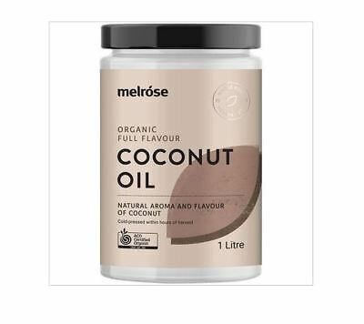 2 x 1L MELROSE Certified Organic Full Flavour Coconut Oil  ( total 2L )