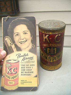 Vintage Full KC Baking Powder Tin and 1950 KC Advertising Booklet - Jaques Mfg