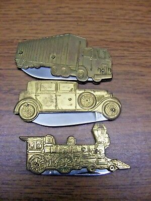 vintage lot of 3 taylor cutlery vehicle pocket knives